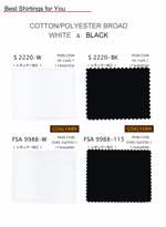 COTTON/POLYESTER BROAD WHITE&BLACK
